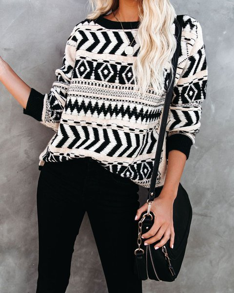 Casual Knitted Geometric Long Sleeve Sweater