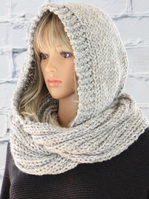 Pure color wool cap knitted trend scarf