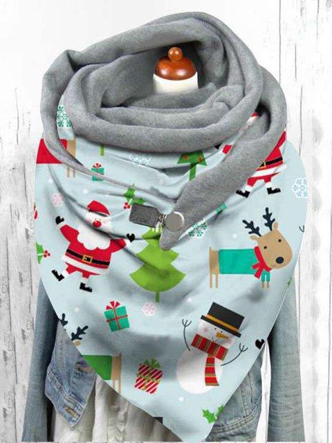 Christmas plus velvet butterfly pattern triangle scarf