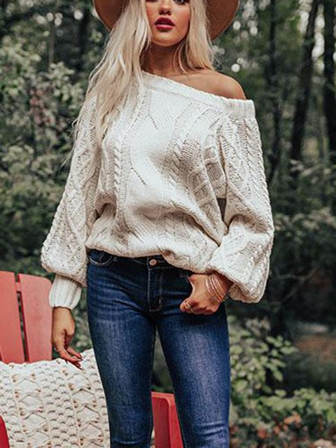 Casual Knitted Long Sleeve Cotton Sweater