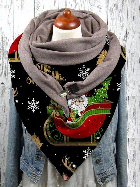 Christmas print bib scarf