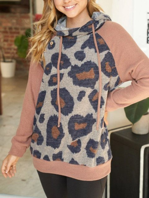 Stitching hooded casual and comfortable stitching knitted sweater
