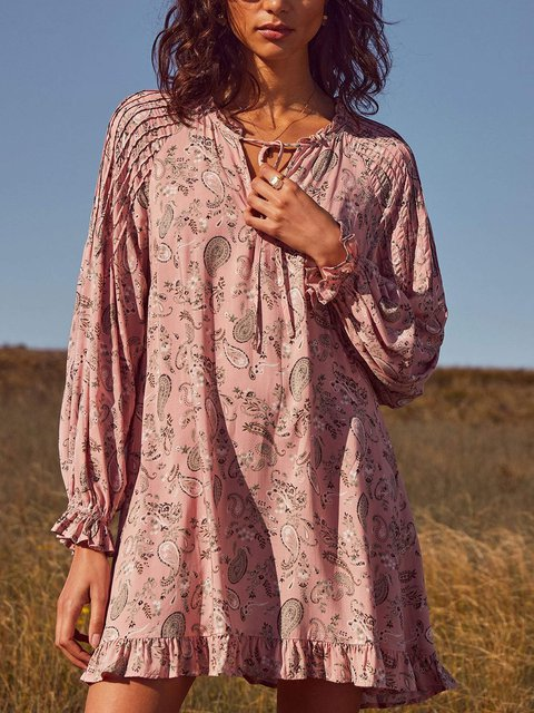 V Neck Long Sleeve Casual Cotton-Blend Dresses