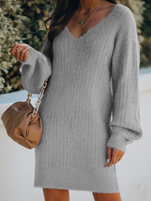 V-Neck Casual Long Sweater Dress