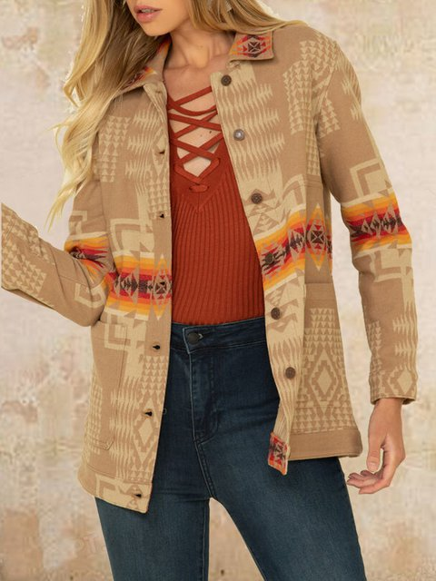 Faux woolen woolen ethnic print fashion warm jacket