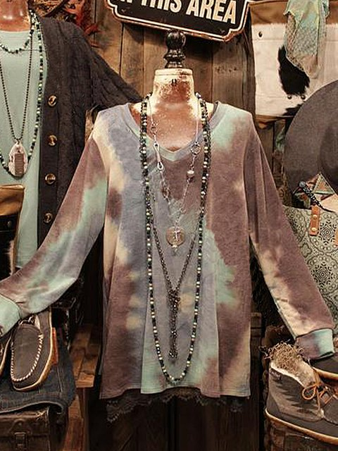 Ombre/tie-Dye Casual Long Sleeve Shirts & Tops