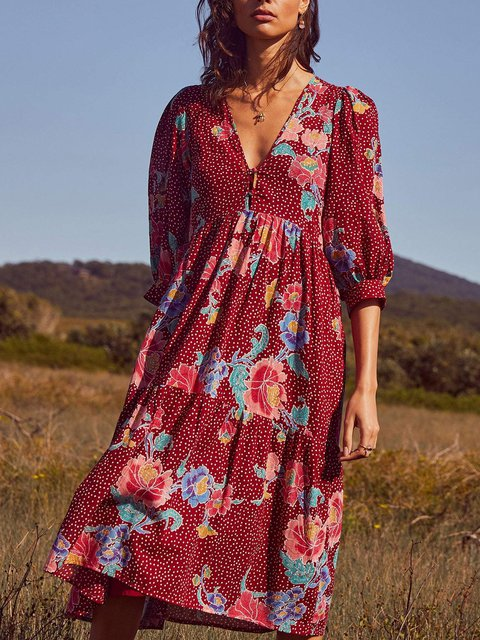 V Neck Printed Cotton-Blend Vintage Dresses