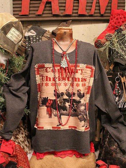 Geometric Vintage Long Sleeve Crew Neck Shirts & Tops