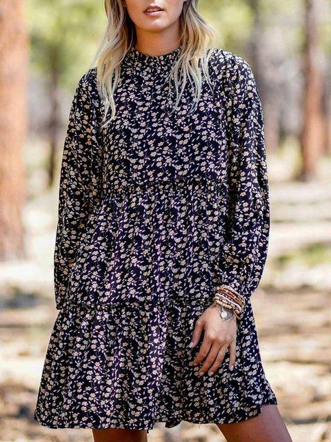 Long Sleeve Casual Printed Polka Dots Dresses