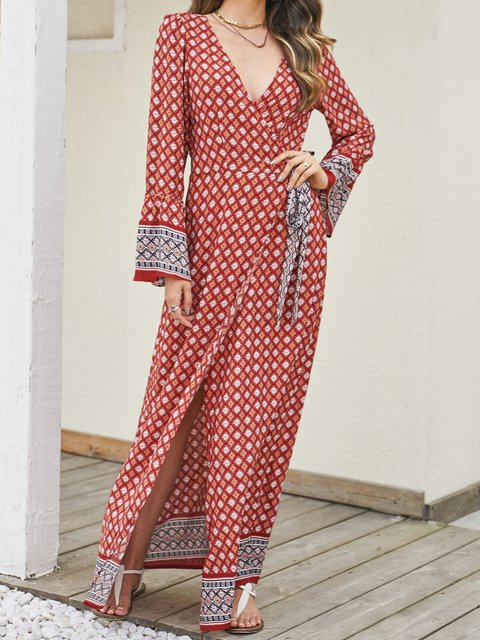Red Printed Casual Dresses