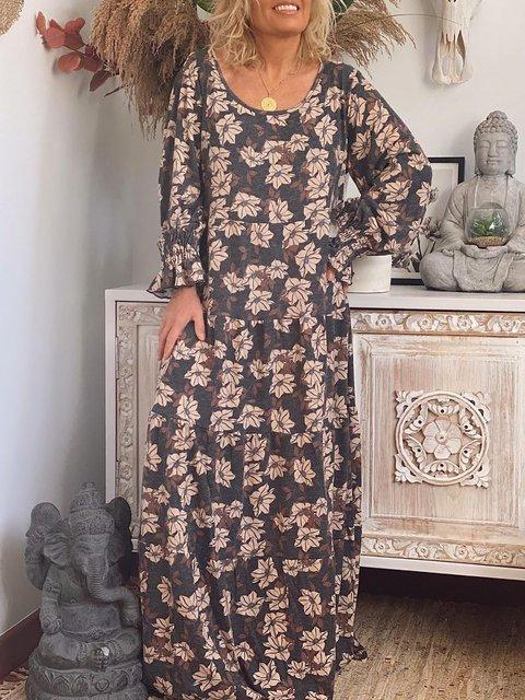 U-Neck Women Dresses Daily Cotton-Blend Floral Dresses