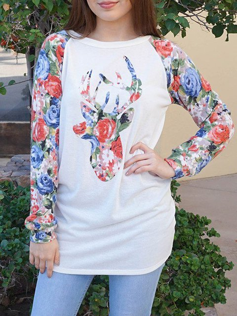 Round neck casual elk print comfortable and soft female T-shirt