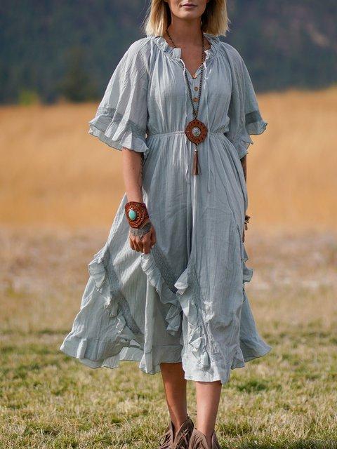 Shift Vintage Cotton-Blend V Neck Dresses