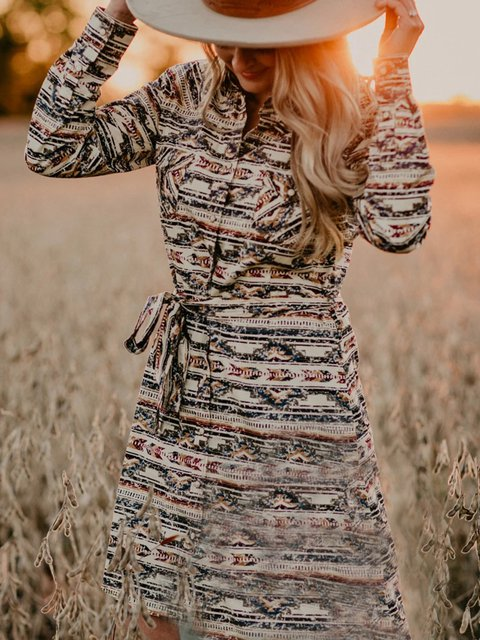 Long Sleeve Casual Printed Dresses