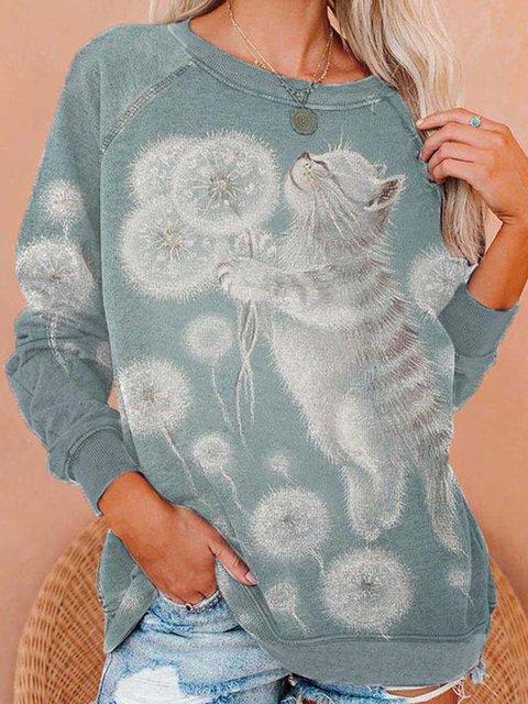 Animal Long Sleeve Shift Casual Sweatshirt