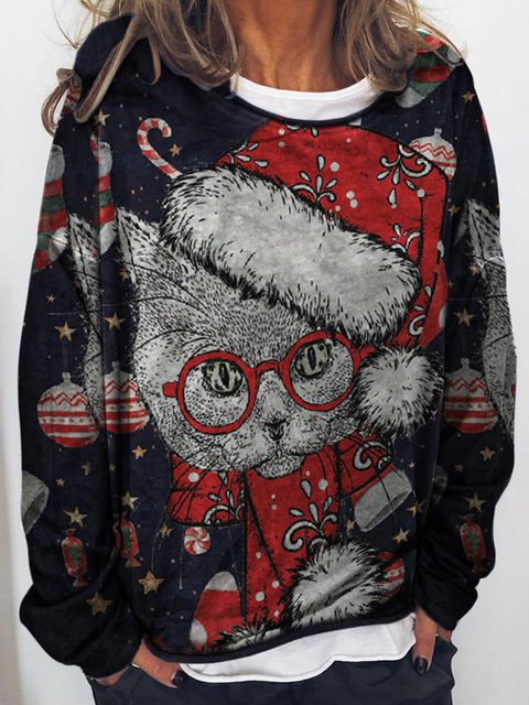 Long Sleeve Christmas Snowman Casual Sweatshirt