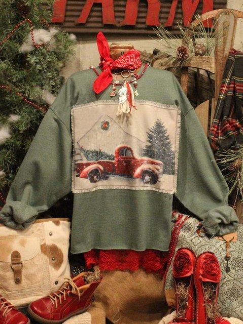 Cotton Crew Neck Vintage Shirts & Tops