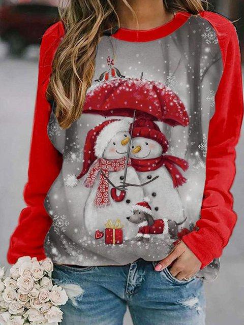Christmas Snowman Casual Long Sleeve Cotton-Blend Shirts & Tops