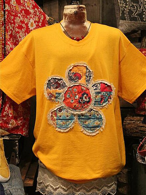 Casual Floral Shift Crew Neck Shirts & Tops
