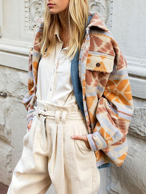 Oversized woolen print lapel warm jacket