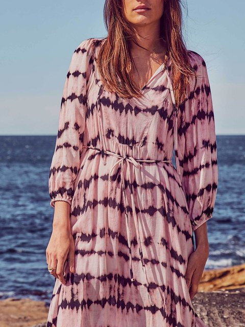 Ombre/tie-Dye Casual Printed V Neck Dresses