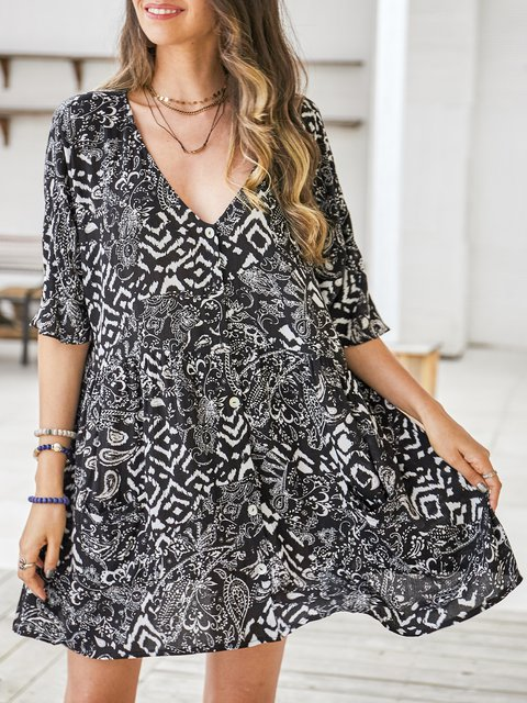 Black Half Sleeve Cotton-Blend V Neck Dresses