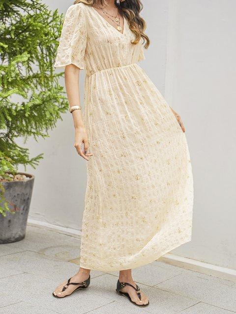 Apricot Short Sleeve Paneled Cotton-Blend V Neck Dresses