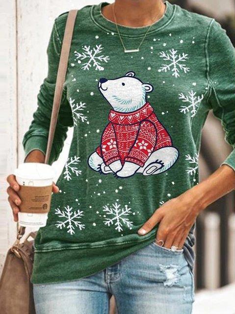 Women's Christmas Bear Print Casual Top