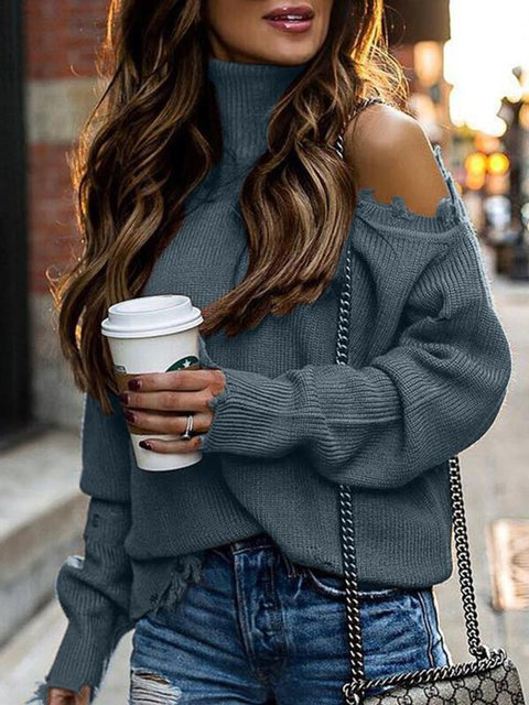 Casual Long Sleeve Knitted Shift Sweater