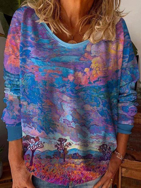 Evening Glow Hedging Print Round-neck Casual Blouse