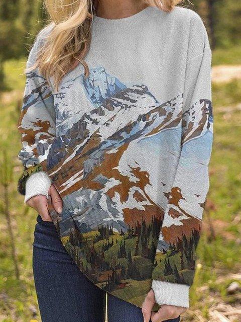 Landscape Print Fleece Casual Long Sleeve Blouse