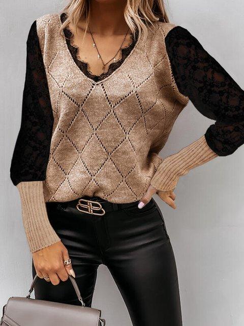 Cotton Casual Plain Long Sleeve Sweater
