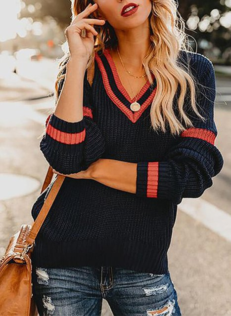 Long Sleeve V Neck Cotton Knitted Sweater