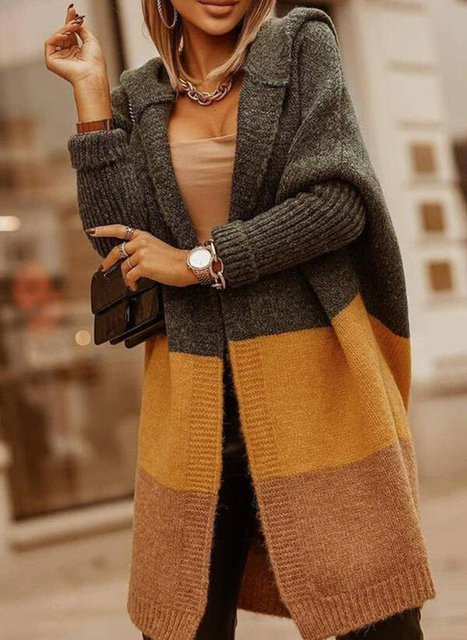 Knitted Stripes Casual Long Sleeve Sweater