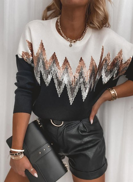 Geometric Casual Knitted V Neck Sweater