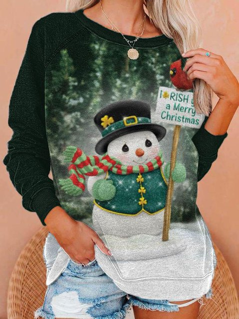 Women's Christmas Snowman Printed Long Sleeve Sweatshirt