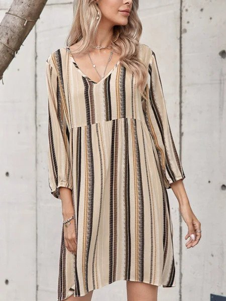 White Cotton-Blend Casual Crew Neck Printed Dresses