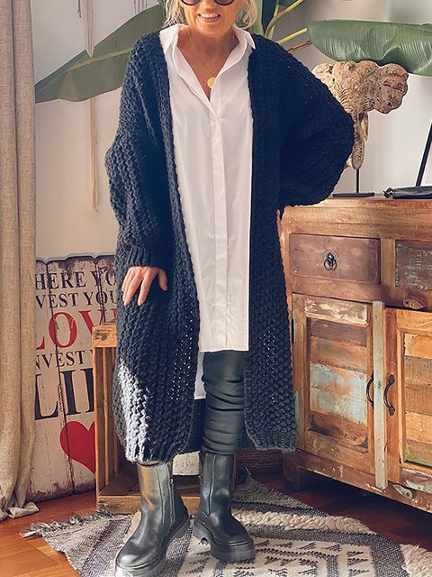 Loose Solid Color Long Knitted Cardigan