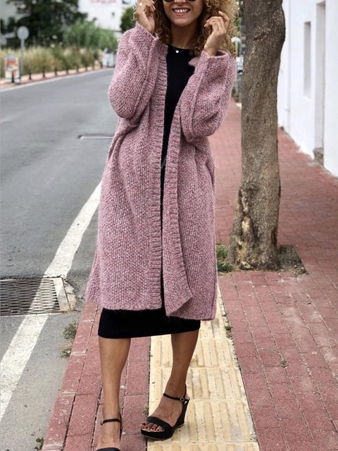 Casual Round Neck Solid Pink Midi Cardigan