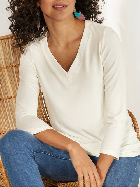 Casual V-neck Long Sleeve Shirts & Tops