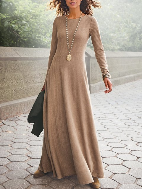 Round Neck Long Sleeve Casual Solid Dresses