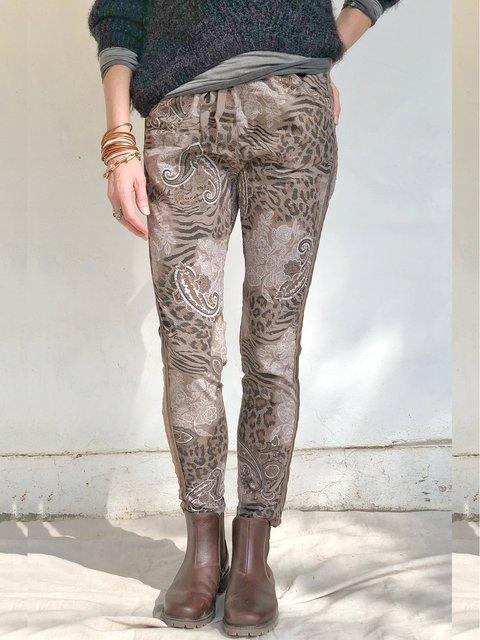 Cotton-Blend Tribal Print Casual Pants