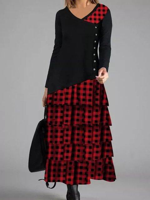 V Neck grid  Women Dresses