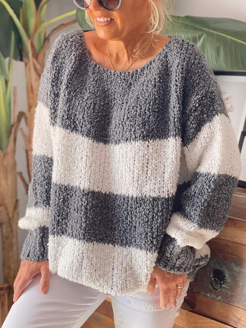 Round Neck Long Sleeve Loose Striped Sweater