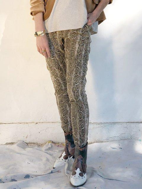 Casual Leopard Cotton-Blend Pants