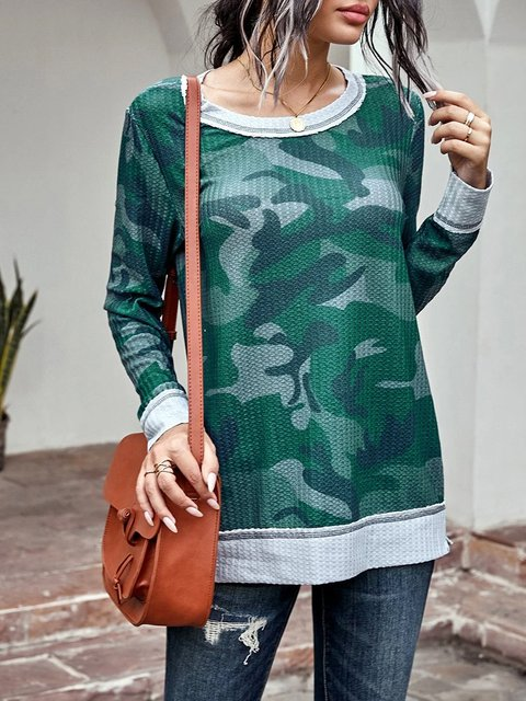 Knit sweater camouflage print round neck loose and comfortable knitted top