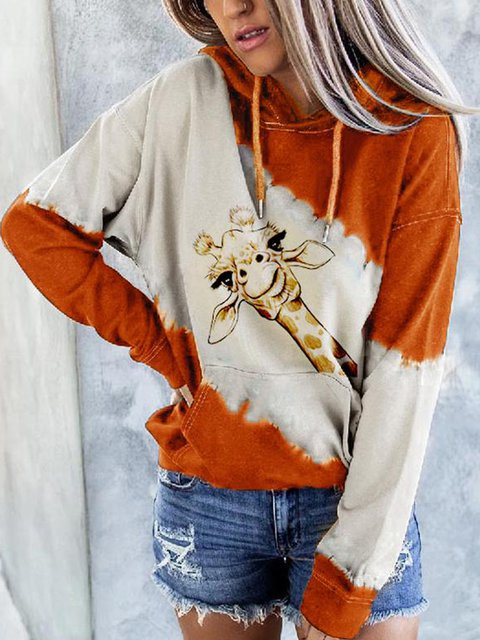 Casual Shift Long Sleeve Animal Sweatshirt