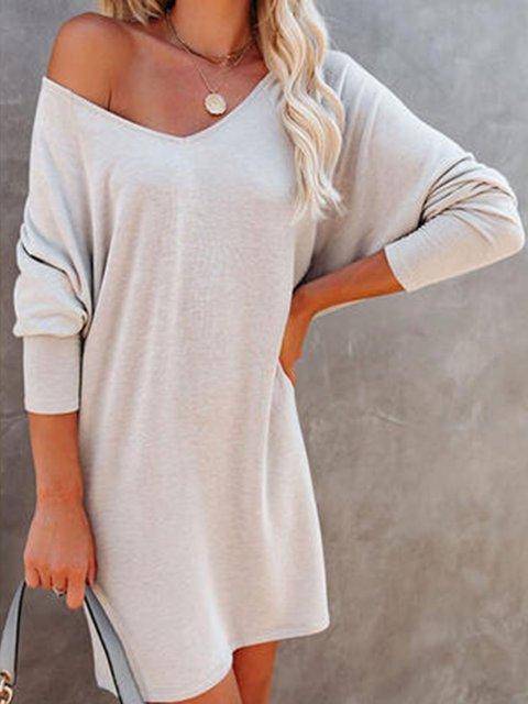 Solid Color V-Neck Knee-Length Dress