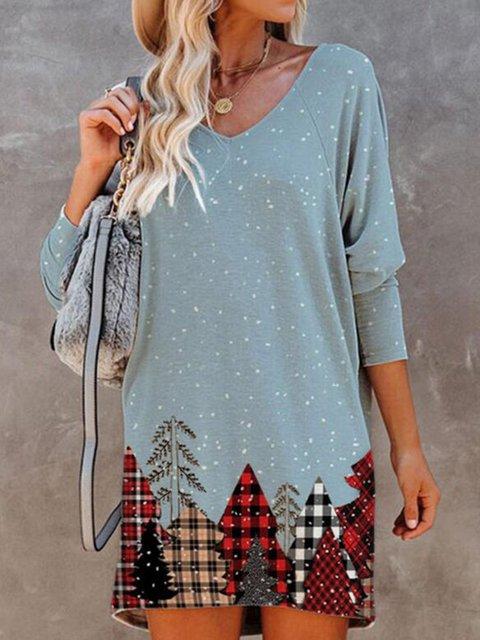 Christmas Print Long Sleeves Shift Above Knee Casual Dresses