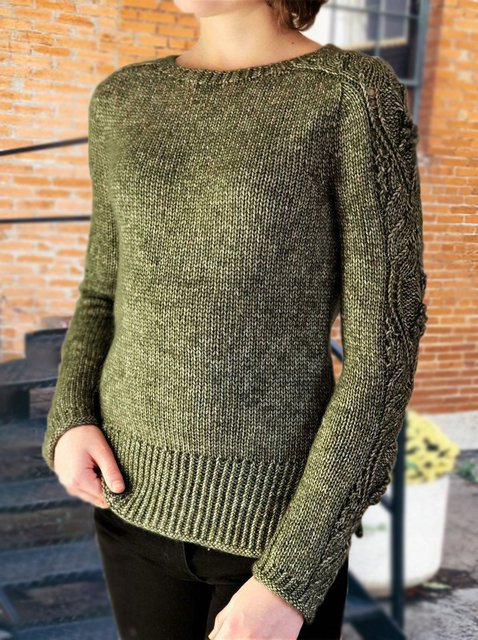 Casual Long Sleeve Woven Sweater